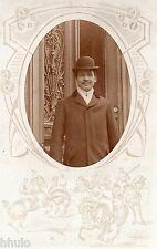 BL552 Carte Photo vintage card RPPC Homme mode fashion portrait cadre ovale