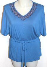 Women's Coldwater Creek Blue Corinthian Tunic top with Wood beads Sz 14 NWT
