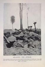 1918 WW1 WORLD WAR I WWI PRINT ~ AWAITING THE ATTACK YPRES BRITISH TRENCHES