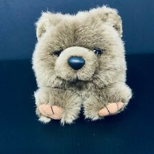 "Vintage Swibco Puffkins Plush Brown Bear 4"" Mini Stuffed Animal Plushie Stuffie"