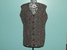 AranCrafts Sweater Vest Fisherman 100% Wool Black Cable Knit Ireland NWT New