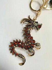 DIAMANTE DRAGON  Keyring Handbag charm Rhinestone Bling NEW GIFT GOLD