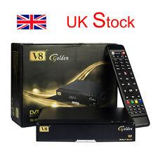 V8 Golden DVB-S2 + DVB-T2 + DVB-C Satellite TV Combo Receiver Support PowerVu UK