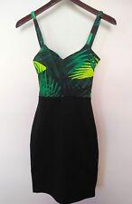 "Fabletics ""Malindi"" Athletic Dress Black Green Leaves Strappy Back Size XXS NWT"
