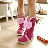 Lady New Womens Mid calf Comfort Fur Lined Winter Snow Boots Flat Heel Round Toe