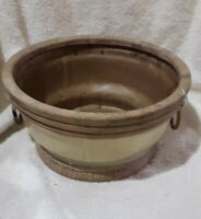 Large Vintage Studio Pottery Planter with handles/Green Beige Glaze/Porch