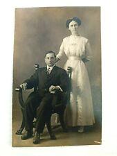 Vintage Postcard Man and Woman on Chair Portrait