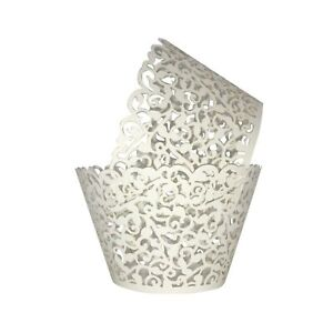 Cupcake Wrappers 100pcs/pack Creamy White Lace Cupcake Liners Laser cut Cupca...