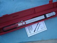 "Snap On 1/2"" Dr Flex Head Click Torque Wrench TQR250E 50-250ft/lb w/Case X'lnt !"