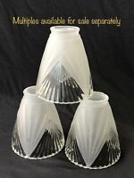 "1 Vtg Art Deco Frosted Clear Glass Lamp Shade Ribbed ""Holophane"" Globe 2 1/4 1/8"