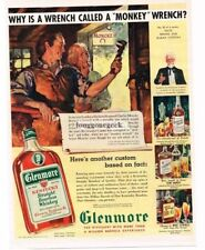 """1939 GLENMORE Bourbon Whiskey Why it's Called A """"Monkey"""" Wrench art Vtg Print Ad"""
