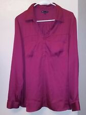GAP BURGUNDY SILKY POLKA DOTS BUTTON DOWN DRESS SHIRT TOP EUC SZ XL 14 16