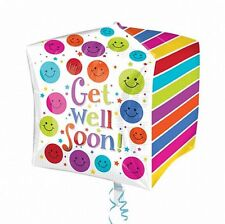 GET WELL SOON CUBEZ SQUARE SHAPED FOIL BALLOON POLKA DOTS STRIPES SMILEY FACES