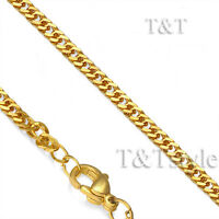 T&T 14K Gold GP 3mm Stainless Steel Curb Chain Necklace (C106)