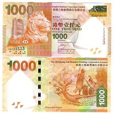 Hong Kong $1000 $1.000 hsbc 2010 UNC p 216