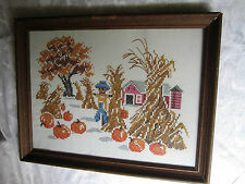 Vintage Cross Stitch Harvest Scene Fall Autumn Country pumpkins scarecrow barn