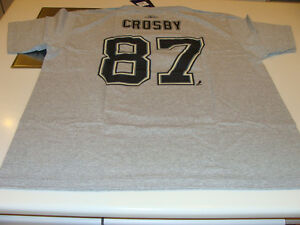 2011-12 Pittsburgh Penguins Sidney Crosby Reebok Name Number Logo Grey Shirt XXL