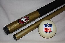 Official NFL San Francisco 49ers Billiard Pool Cue Stick & NFL Logo Cue Ball NEW