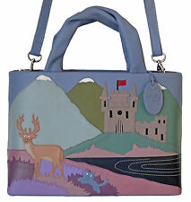 50% OFF CICCIA CAT SCATTISH HIGHLANDS BLUE LEATHER GRAB OR SHOULDER BAG RRP £130