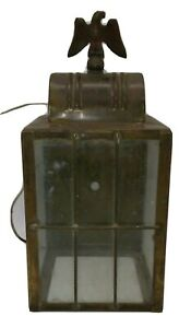 Vtg Brass Outside Porch Wall Carriage Lantern Light Eagle Outdoor Light French