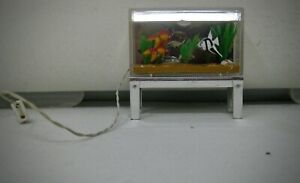 Lundby vintage miniature lighted aquarium with angel fish gold fish plants
