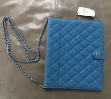 NWT Chanel Italy Quilted Caviar Leather iPad Tablet Case Removable Chain $2225