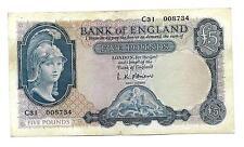 5 lb (approx. 2.27 kg) billete de Gran Bretaña, Cartel De ND (1957), O 'Brien, F-F + +