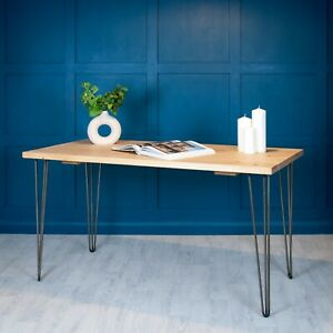 Desk Industrial Wood Planed [With Hairpin Legs] Office - Large