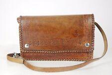 vintage Tooled leather tan shoulder folk boho bag