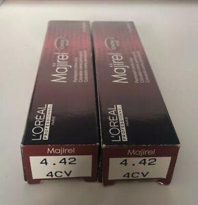 2 X LOREAL Professional Majirel Majirouge Hair Color Level # 4.42 / 4CV Brown