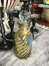 GOLD MERCURY GLASS VANITY BOTTLE WITH FACETED CRYSTAL STOPPER NEW