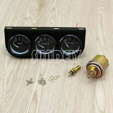 2″/52mm Car Auto Black Face Triple Gauge Set Oil Pressure Water Temp Volt Meter