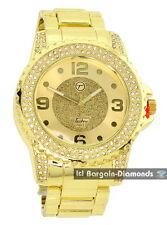 big manly gold tone white CZ ice out bezel clubbing watch Techno Pave bracelet