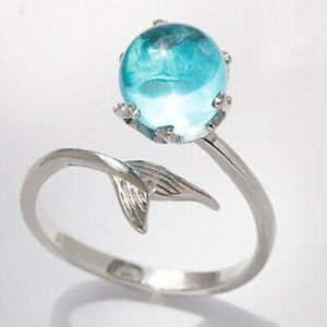 925 Silver Aquamarine Mermaid Tail Opening Birthstone Rings Adjustable Jewelry