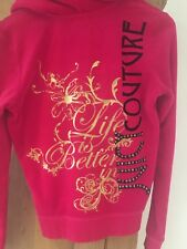 Juicy Couture Pink Embellished Zip Up Hoodie Large Exc Condition