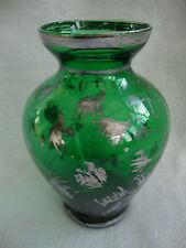 A SMALL ANTIQUE GREEN VENETIAN ITALIAN ART GLASS POSY VASE WORN SILVER DETAIL
