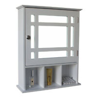 Wall Mount Single Door Three Compartment Storage Bathroom Cabinet –White New US