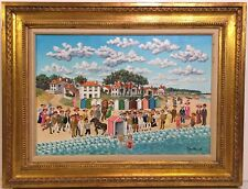 PIERRE GUILLAUD 20th c. French Artist PAINTING Bathing Beauty at the Beach