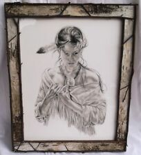 """LARGE 23"""" NUDE INDIAN GIRL DRAWING PRINT+BIRCH BARK PICTURE FRAME Cowboy Western"""