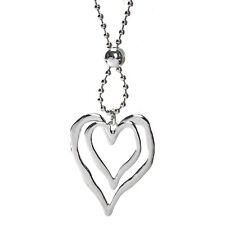 Lagenlook silver large double heart pendant 96 cm bead chain long necklace