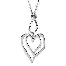 Lagenlook silver large double heart pendant 96 cm bead chain long necklace