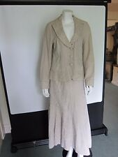 PER UNA Skirt Suit Beige w/ Gold Stitched Floral Size 10 Office Formal Wedding