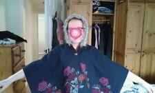 Monsoon navy fur trim hooded cape age 10/11 years