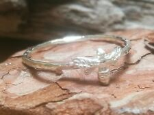 Sterling Silver Bee Ring Handmade Stacking Rock and Feather 925 Boho Hammered