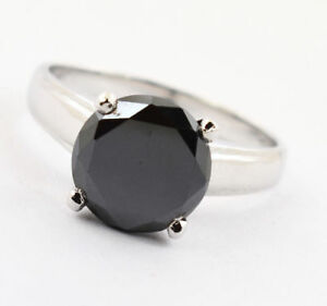 Certified Black Diamond Ring in Silver 925 AAA 3.15Ct, Size 7