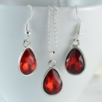 SILVER TONE TEAR DROP RED FACETED CRYSTAL PARTY  PENDANT NECKLACE EARRINGS