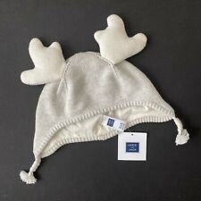 Janie and Jack Reindeer Hat Gray Ivory Knit Beanie Toddler Baby Cap 12-18 Months