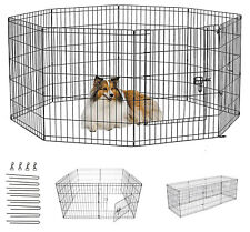 More details for dog pen puppy pet playpen run outdoor foldable enclosure rabbit fence crate cage