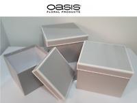 Symphony Lined Oasis® Flower Hat Boxes Set of 3 Light Grey Hat Boxes Gift Hamper