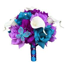 """8"""" Bouquet - Turquoise, Purple, Lavender Artificial Roses Calla Lilies"""